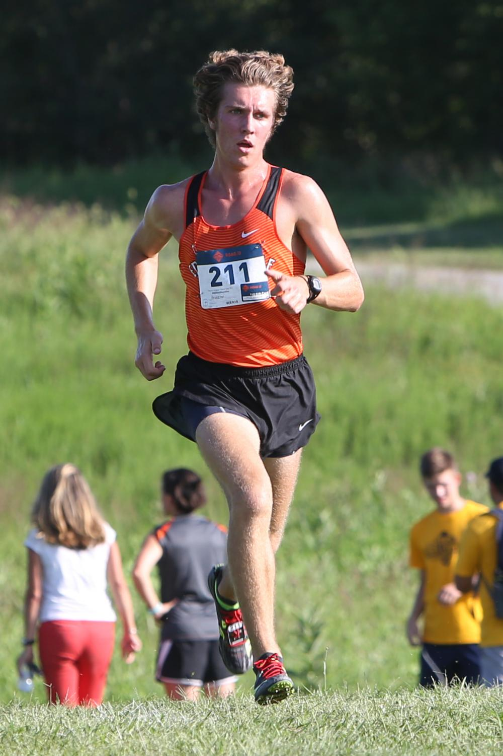 Senior Roland Prenzler leads the pack at the Edwardsville Tiger Classic at SIUE.