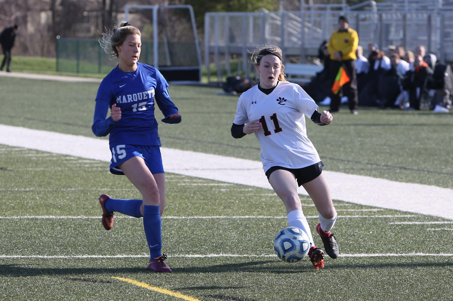 Senior Emma Hensley, pictured here at a game last season, plans to play a Missouri State University next year.