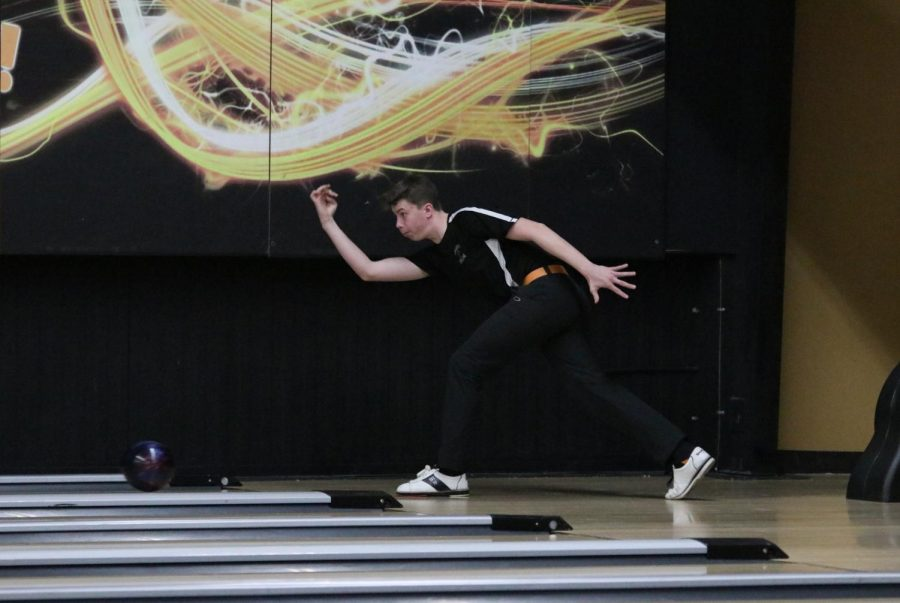 Senior Hayden Meyer  bowls in a home competition on Jan. 8.