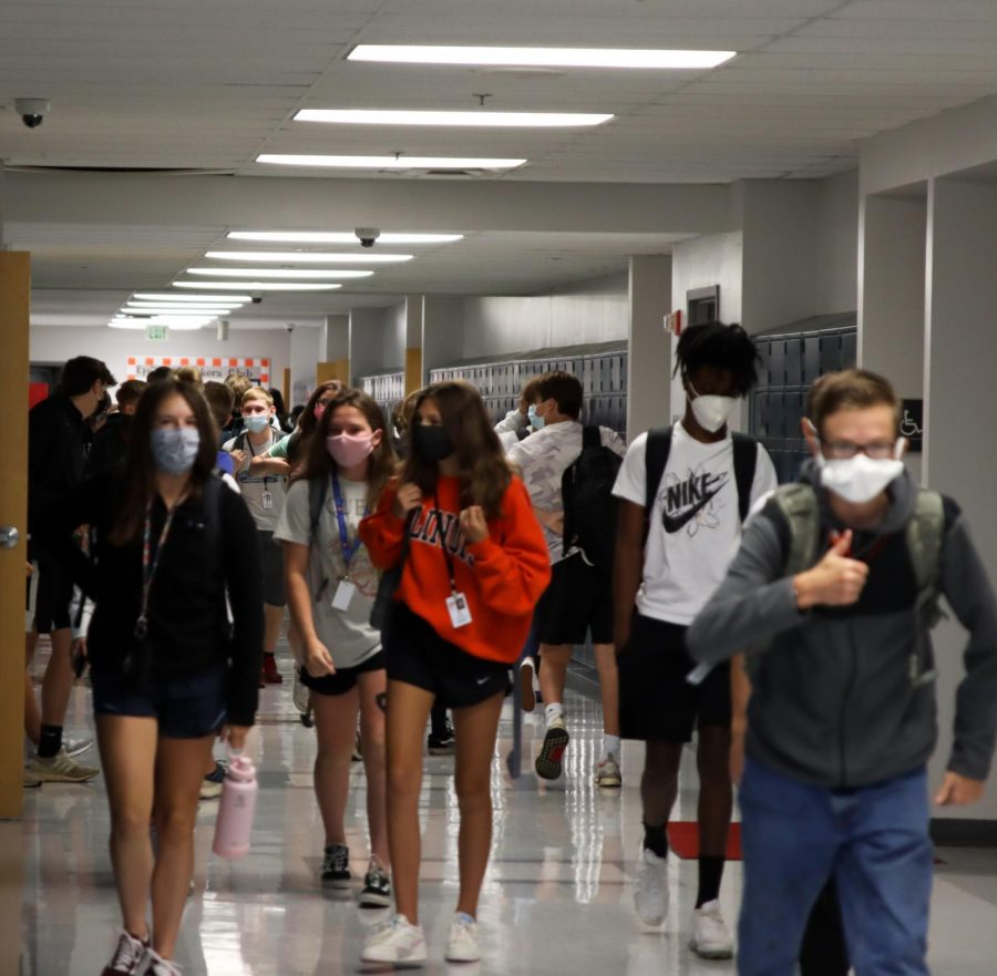 Students at the high school flood the halls during passing period earlier in the school year in August 2020. All of district 7 is now in full-remote at-home learning due to COVID-19 concerns.