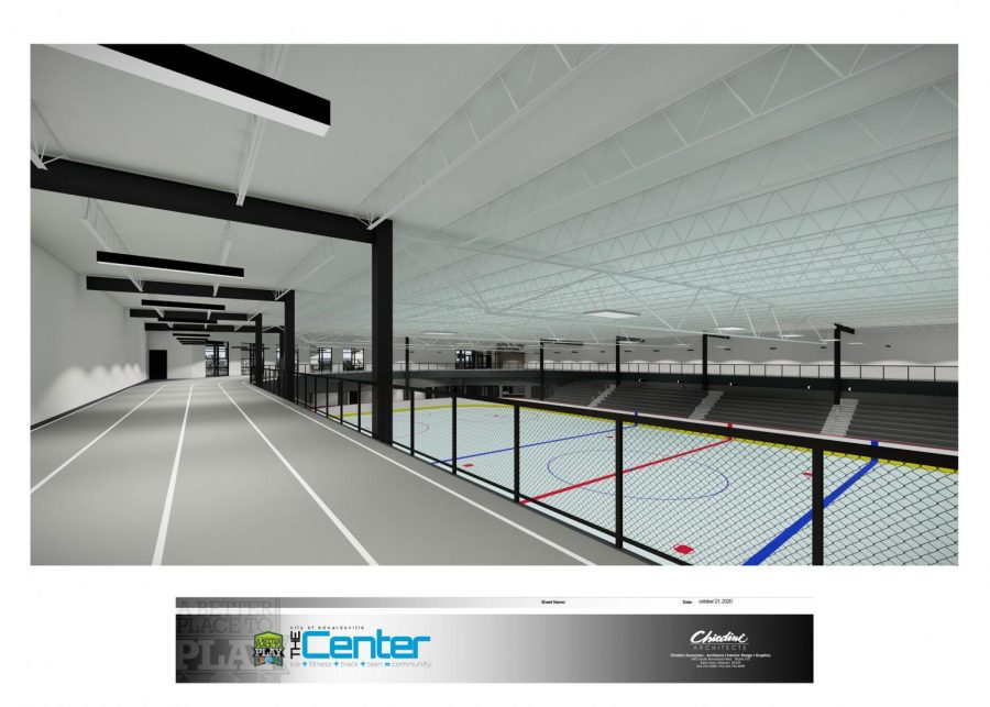 This image captures a tentative look at what the ice rink and indoor track will look like.