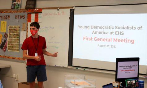 YDSA president Joshua Robinson introduces club at first meeting.