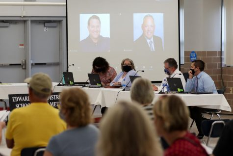 The District 7 board addresses community members in an Aug. 4 board meeting. Superintendent Patrick Shelton and board president John McDole attend the meeting via Zoom.