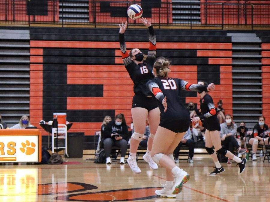 Senior Lexi Griffin sets ball to teammate at the March, 2021 volleyball game against Belleville.