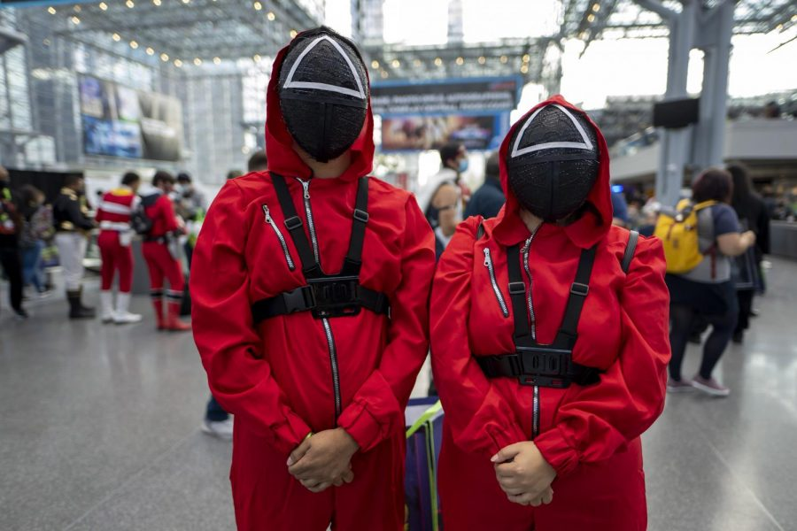 Squid game fans dressed as  soldiers for 2021 Comic-con